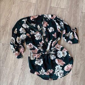 Zip front floral peplum blouse Dark Green